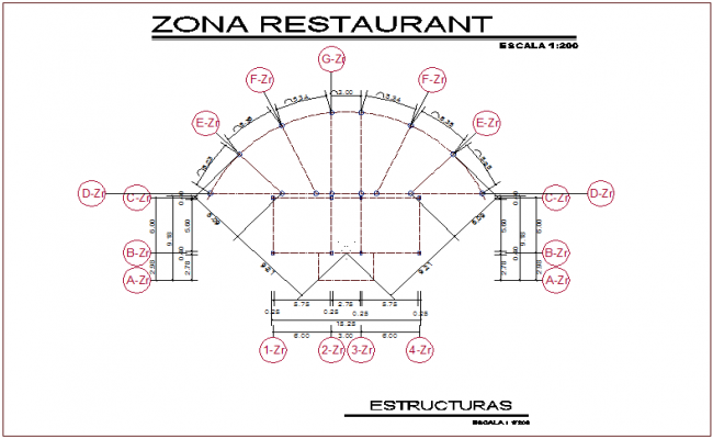 Structural view of restaurant for youth development center dwg file