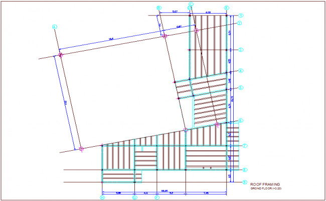 Structural view of roof framing view for turkey multipurpose room dwg file i