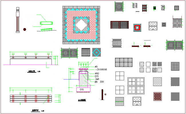Structural view with different types of column view dwg file