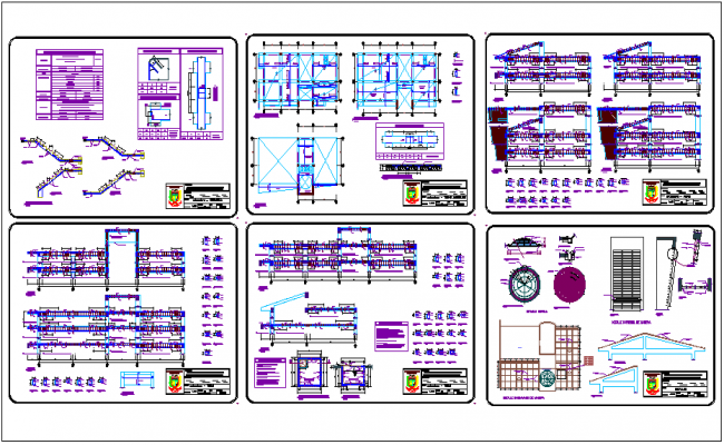 Structural view with floor plan and  detail of community center dwg file