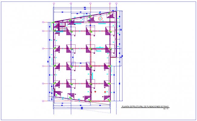 Structural view with foundation view of bank design dwg file