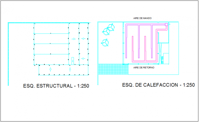 Structural view with heating system of material delivery office of government dwg file