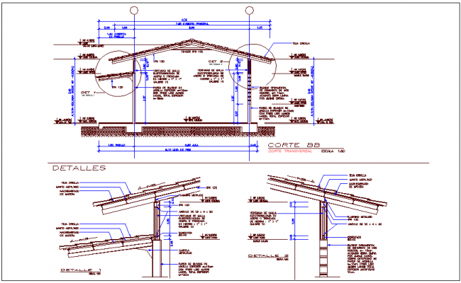 Structural view with wood support view for classroom dwg file
