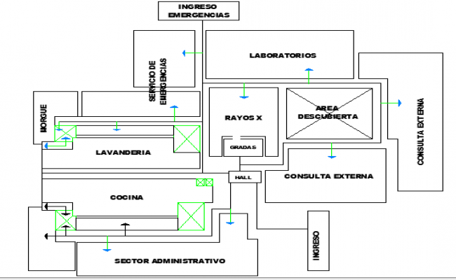 Structure Details of Multi-Flooring Hospital Project dwg file