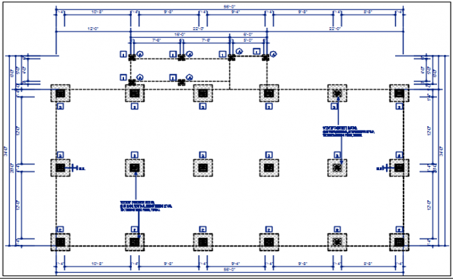 Structure column plan with foundation plan layout view in detail dwg file