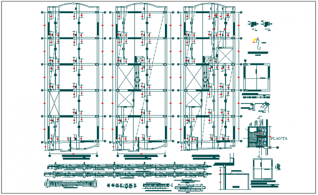 Structure detail and plan view dwg file