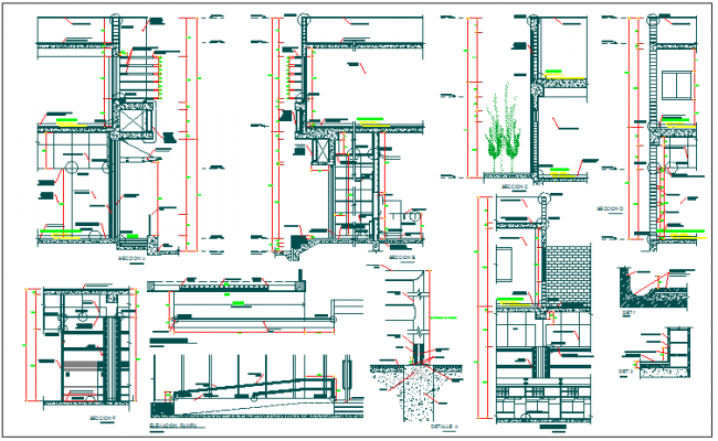 Structure detail and section wall detail dwg file