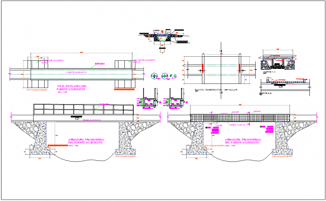 Structure detail of aqueduct canal steel detail dwg file