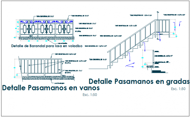 Structure detail of handrailing and balcony plan elevation view detail dwg file