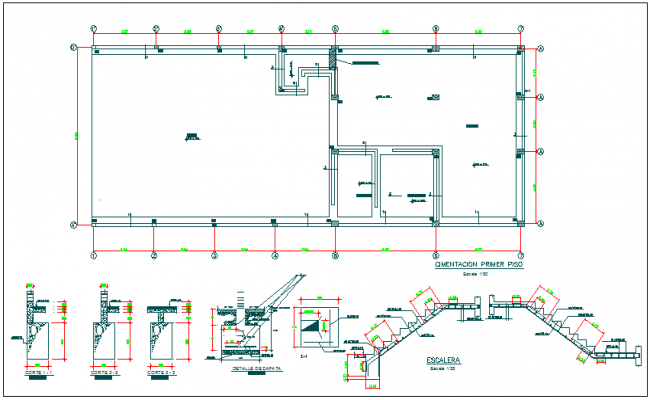 Structure detail view foundation plan layout view detail dwg file