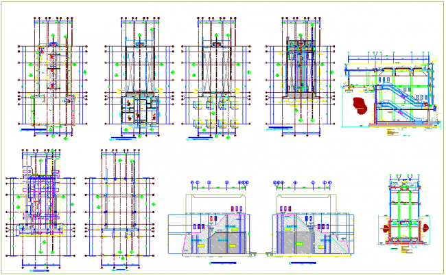 Structure detail view of foundation column view and section view of building dwg file