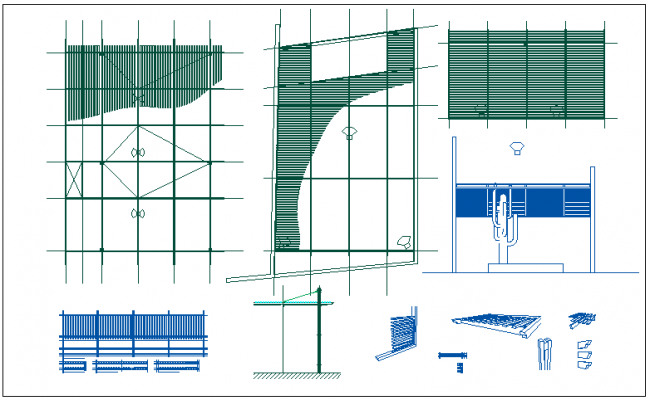 Structure detail view of steel structure dwg file