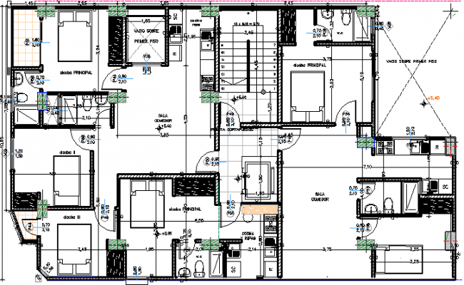 Structure details of Single family two flooring bungalow dwg file