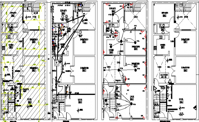 Structure details of Single plan multi-family house dwg file