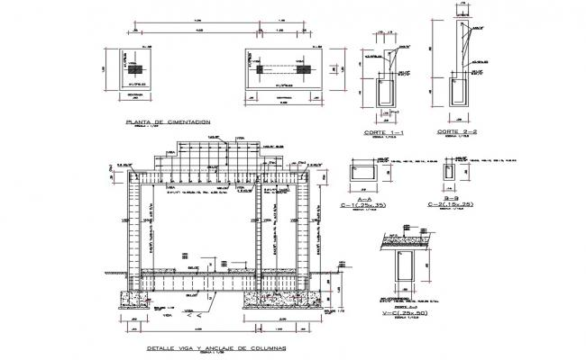 Structure details of typical column and beam cad drawing