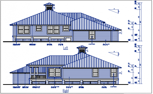 Structure elevation file Left and right elevation details with dimension details dwg files
