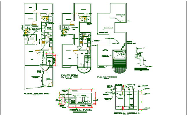 Structure member section plan detail view dwg file