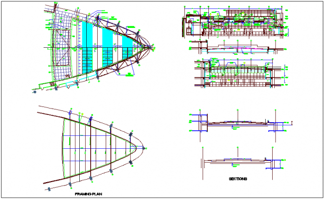 Structure of framing plan,elevation and section view dwg file