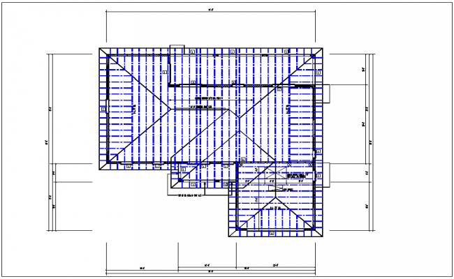 Structure roof plan with foundation plan layout view in detail dwg file
