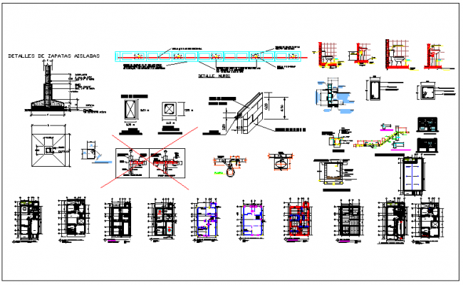 Structure section detail of beam column and foundation dwg file