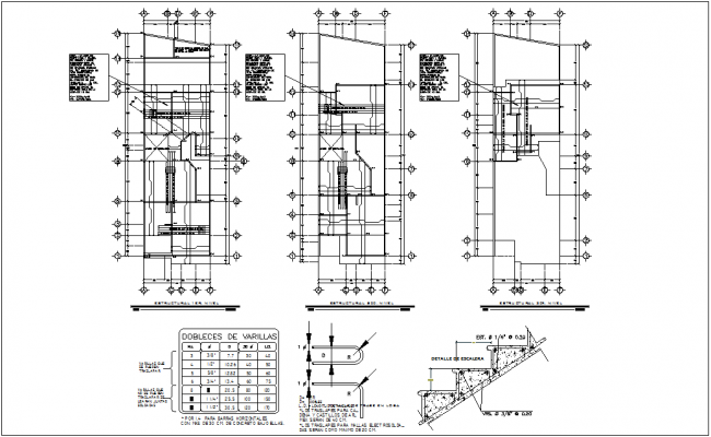Structure view of house with floor plan and stair detail dwg file