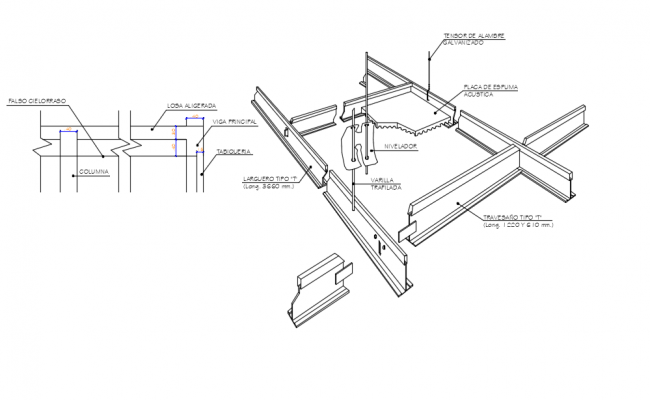 Structure view of isometric view of suspended ceiling view dwg file