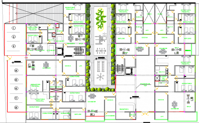 Structure with center garden multi-family ad multi-flooring housing building dwg file