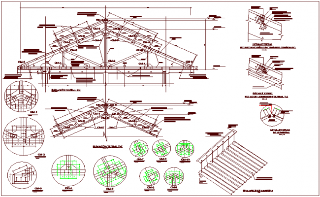 Struts  design view with elevation and detail view with structure view dwg file