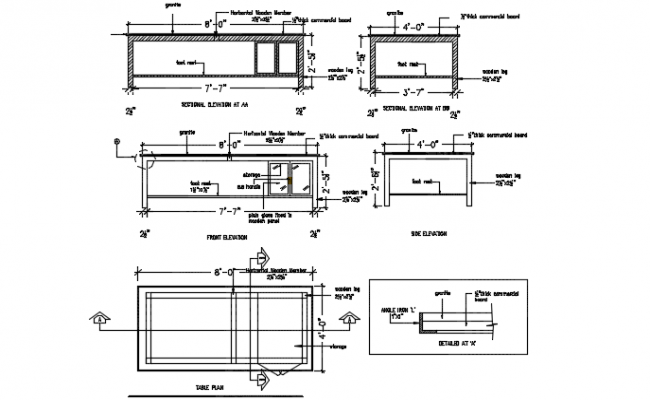 Study table detail dwg file
