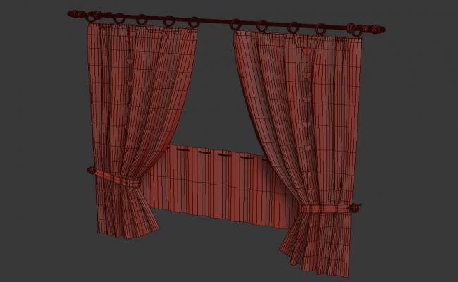 Stylish Curtain Design With MS Rod Rendered In 3D MAX File