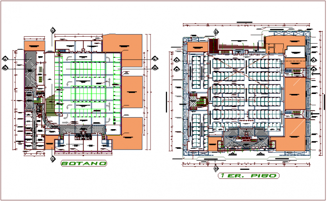 Super market basement and first floor plan dwg file