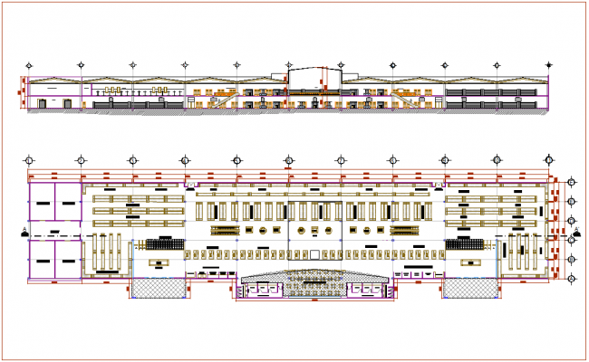 Super market floor plan with elevation dwg file