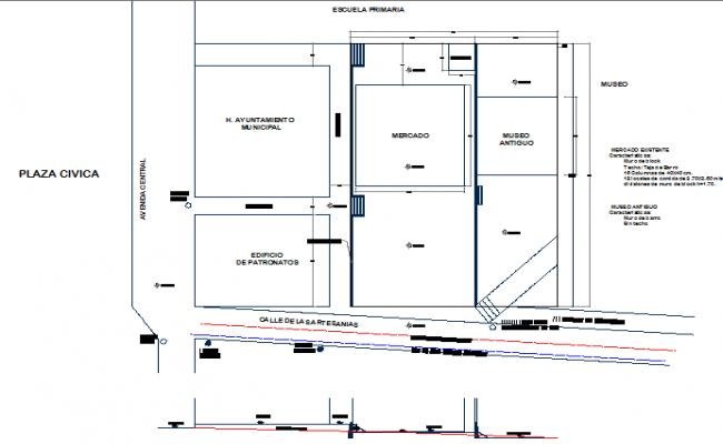 Super market structural layout plan details dwg file
