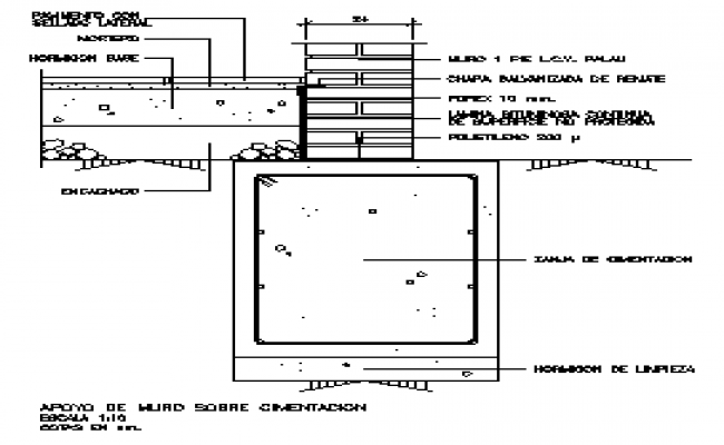 Support wall on foundation section design drawing