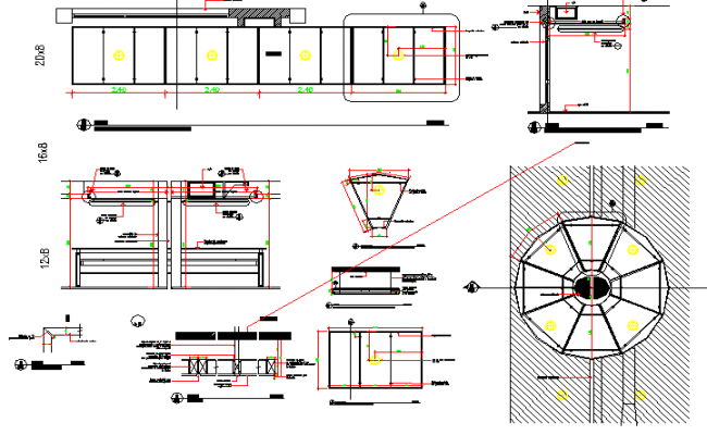 Suspended building ceiling constructive details dwg file