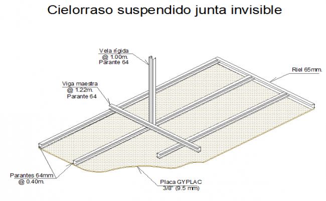 Suspended ceiling details with dry wall dwg file