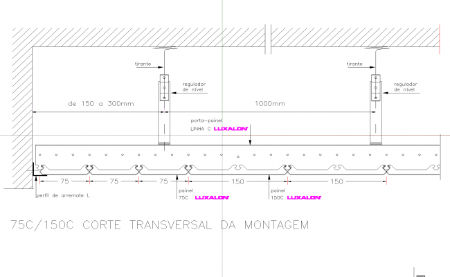 Suspended metal ceiling plan detail dwg file.