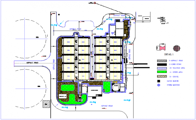 Swag drinking water line view with landscape view of motor control center dwg file