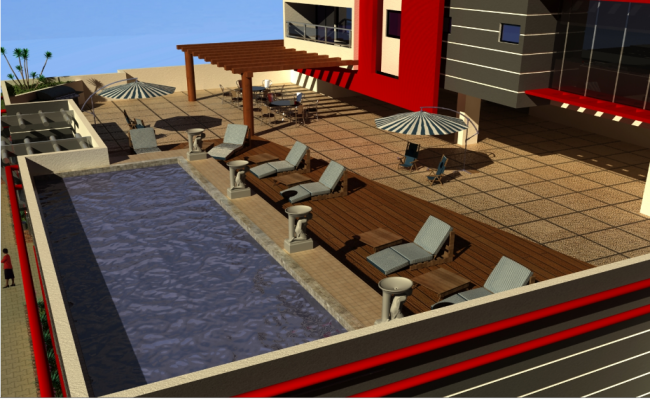 Swimming pool 3d design of corporate building dwg file