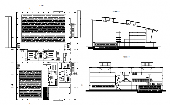 Swimming pool complex elevation and layout