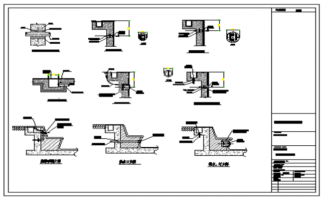 Swimming pool construction detail design drawing for Swimming pool overflow detail dwg