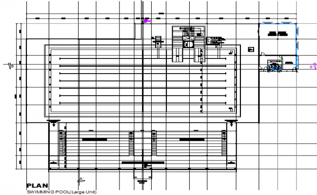 Swimming pool plan detail dwg file