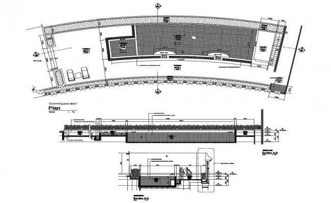 Swimming pool section, plan and cad drawing details dwg file