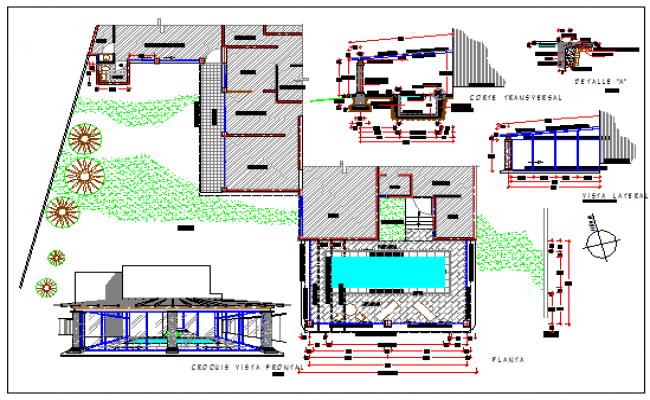 Swimming Pools Details Design Drawing