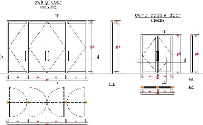 Swing Aluminium Double Door Installation Details Dwg File