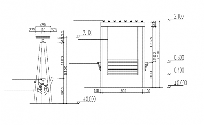 Swing plan elevation and side view dwg file