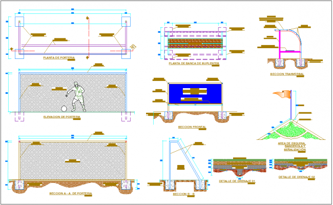 Synthetic grass court furniture plan,elevation and section view with detail dwg file