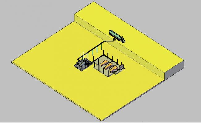 System piping fuel power plant 3d model cad drawing details skp file