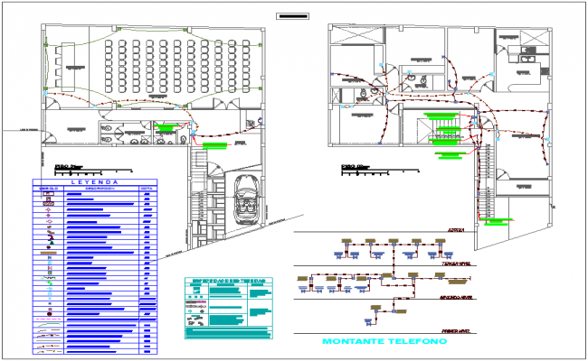 T.V,cable and telephone electric line for house for first and second floor plan dwg file