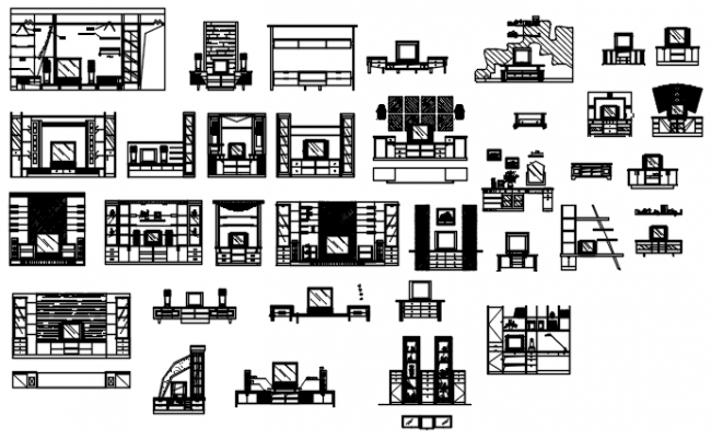 T.V cabinet elevations in dwg file